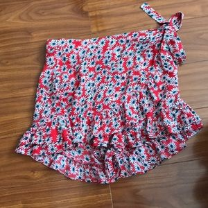 Zara Red Floral Tie Waist Skirt